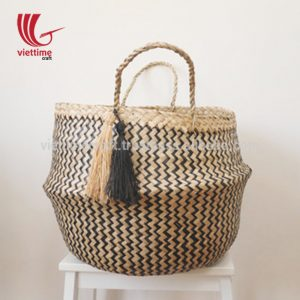 Zigzag Belly Seagrass Basket With Tassels